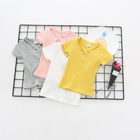 Wholesale Cross Color Clothing - NEW arrival kids clothing summer Girls Short sleeve solid color V-neck with cross Shirt baby kids girl shirt 100% cotton shirt 4 color