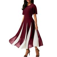 Wholesale plus size women dresses for sale - Fashion women summer dresses short sleeve stripe long chiffon maxi dress Plus Size High Quality CL583