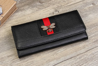 Wholesale Bee Coin - New women Genuine leather bee wallet female cow leather purse lady fashion clutch pink black wine red green color no419