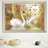 Wholesale clock abstract art for sale - Group buy Full Diamond Embroidery Swan Lover DIY Wall Clock Diamond Paintings Cross Stitch Wall Art Mosaic Resin Drill Paste Home Decor