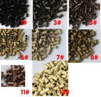 extensiones de cabello de cobre al por mayor-1000pieces / lot 3.4x3.0x6.0mm bolas micro de cobre acampanados para los enlaces / los tubos micro precocidos del cobre del pelo para la extensión del pelo de la pluma