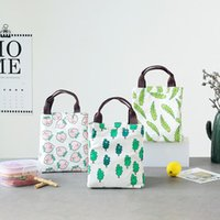 Wholesale chicken clothing resale online - Fashion Printed Lunch Storage Bag Portable Canvas Aluminum Foil Bento Bags Fish Leaf Chicken Tree Pattern Insulation Pack ls BB
