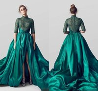 Wholesale Half Sleeve Long Prom Dresses - Emerald Green Satin Evening Dresses High Neck Half Sleeves Lace Formal Prom Party Gowns A Line Custom Special Occasion Wear Front Split