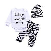 trajes de tutu de cebra al por mayor-2018 Nuevos conjuntos de ropa para bebés 3pcs Traje de manga larga carta Rompers + Zebra Pant Set con gorras bebé