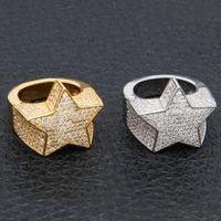 yıldız kaplama toptan satış-Erkek Moda Bakır Altın Renk Kaplama Yüzük Abartmak Yüksek Kalite Buzlu Out Cz Taş Yıldız Şekli Yüzük Takı