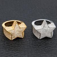 kupferringe für männer großhandel-Herrenmode Kupfer Gold Farbe Überzogen Ring Übertreiben Hohe Qualität Iced Out Cz Stein Sternform Ring Schmuck