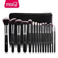 msq pincéis venda por atacado-MSQ Pro 15 pcs Pincéis de Maquiagem Conjunto Em Pó Foundation Sombra Make Up Brushes Cosméticos Macio Cabelo Sintético Com PU Caso De Couro