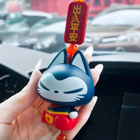 Wholesale chinese christmas ornaments - Car Pendant Chinese Style Lucky Cat Home Decoration Automobiles Rearview Mirror Hanging Ornament Accessories Christmas Gifts