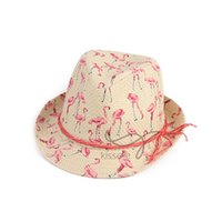 Wholesale new cloth woman online - For Women Creative Flamingo Printing Cap Luxury Designer Hats Monochrome Paper Cloth Formal Hat New Fashion Style sy ff