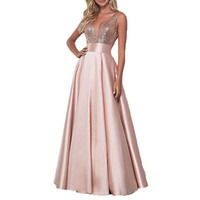 Elegant Rose Gold Sequins Long Evening Dresses Sexy V-neck Backless Prom Party Gowns A-line Formal Dress Women Wear 2019