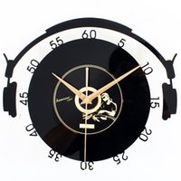 registro de auriculares al por mayor-KAYIYO Headset Record Reloj de pared moderno Reloj de pared para el dormitorio Arte Reloj Decoración para el hogar Clásico Relogio