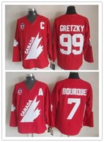 Wholesale Autumn Color Names - 1987 Team Canada #99 WAYNE GRETZKY 7 RAY BOURQUE Hockey Jersey Embroidery Stitched Customize any number and name Jerseys