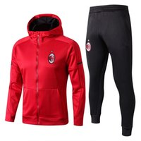 Wholesale Men S Dress Hats - Thailand Quality 1718 AC Men's Jacket Jacket Jacket Sweat Shirt Shirt Jogging Training Dress Trouser Soccer Clothing and equipment,A red hat