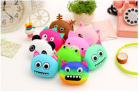 Wholesale silicone jelly handbags - Silicone Coin Purse Lovely Kawaii Candy Color Cartoon Animal Women handbags Girls Wallet Multicolor Jelly Purses Kid Christmas Gift