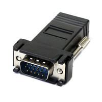 extensor femenino de lan masculino al por mayor-2017 Universal VGA Extender Macho a Lan Cat5 Cat5e RJ45 Ethernet Adaptador Femenino para PC Computadora de escritorio Negro
