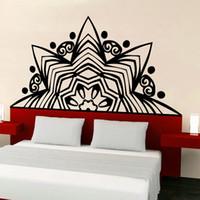 decalques de parede de ioga e vinil venda por atacado-Creative lotus parede yoga estúdio mural decalque de vinil mandala mehndi decorar cama adesivo de parede quarto decoração da sua casa yqt006