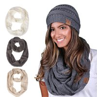 Wholesale knitting cowl scarf resale online - DHL CC knitted scarves CC Women winter warm scarf CC fashion Pullover muffler Long Infinity Hood Cowl Loop Scarf Neck warmers