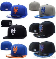 Wholesale basic hats - Men's Mets on field Blue Top Orange Brim Fitted Baseball Hats Sports Team Letter ny Flat Full Closed Caps Cheap Baseball Basic hat