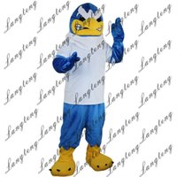 Wholesale eagles mascot costume - 2018 New high quality Blue Eagle Mascot costumes for adults circus christmas Halloween Outfit Fancy Dress Suit Free Shipping012