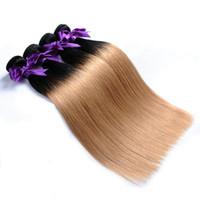 paket saç satın toptan satış-Badshop Saç 3 Ton Ombre Moğol Düz Saç Örgü Demetleri 1B / 4/27 Olmayan Remy İnsan Saç Uzantıları 3 Veya 4 Demetleri satın alabilirsiniz