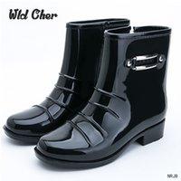 Wholesale mid calf rain boots - Catching Men's Fashion Balck Rain Boots Male 2017 New non-slip Waterproof Short Boots Outdoor 39-44 Plus Size Water Shoes