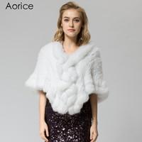 SRR006-6 Réel tricoté blanc lapin fourrure châle poncho a volé shrug cape  robe tippet wrap hiver chaud manteau   outwear 6c801f1c8a7