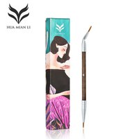 Wholesale goat fiber resale online - HUAMIANLI Brand Double Head Bent Eyeliner Makeup Brushes High Quality Fiber Wool Solid Wood Rod Exquisite Box Eye Liner Brush