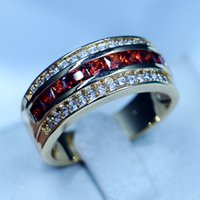 anillos de granate de oro amarillo al por mayor-3 colores anillo de banda masculina redonda granate 5A circón anillo de banda de boda de partido de piedra para hombres joyería de moda llena de oro amarillo