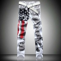 pantalones bandera roja al por mayor-2018 New Men's White American Flag Jeans estampados de alta elasticidad Slim Casual Polka Dot Red Size Pants