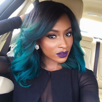 Wholesale wig short light blue - Ombre Lace Front Human Hair Wigs BOB T1b Sky Blue Malaysian Virgin Hair Two Tone Full Lace Wigs Natural Hairline With Baby Hair