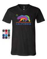 danksagungs-krawatten für männer großhandel-California Bear Peace Symbol T-Shirt mit V-Ausschnitt Tie Dye Cali Flagge Ca Hippie T-Shirt Männer Männlicher Hip Hop Kurzarm Thanksgiving Day