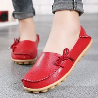 Wholesale white leather nursing shoes women online - Spring summer comfortable large size women real leather mother shoes lazy nurses wear flat shoes casual women comfortable shoes