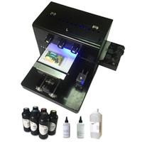 couro etc venda por atacado-Cor UV da impressora 6 do diodo emissor de luz do tamanho A4 para a caixa de couro do telefone / TPU / ABS etc diretamente com a tinta UV impressa do diodo emissor de luz do efeito + 6 * 500ml