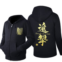 Wholesale attack on titan online - Anime hoody Attack on Titan zipper clothes hoodie men Hip Hop Hoodie Black Jacket Men Clothes Fashion Hooded Hombre zipper