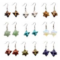 Wholesale Gem Stars - New Natural Gem Stone Merkabah Star Drop Earrings for Girl Opal Pink Crystal Lazuli Polyhedral Reiki Eardrop Jewelry