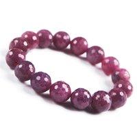 piedra preciosa rubí rosa al por mayor-6 mm - 15 mm rosa rosa genuino piedra preciosa de rubí genuino cristal facetado del estiramiento pulsera