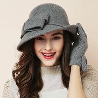 cb0af07dc80 ladies red felt hats NZ - Women party formal headwear lady winter fashion  asymmetric bowknot 100