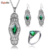 настоящие ювелирные наборы оптовых-Szjinao Wholesale Emerald arty Jewelry Sets For Women Real 925 Sterling Silver Vintage Ring Earring Pendant