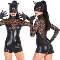 katzenmasken für erwachsene großhandel-Schwarze Katze Mädchen Halloween Kostüme für Erwachsene Sexy High Collar Lace Long Sleeves Party Kleid Overall + Maske + Handschuhe Auf Lager