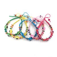 pulseras hechas cadena al por mayor-Mezcle 5 colores Lucky Eye Hecho a mano Joyas de mal de ojo Kabbalah Charm Pulseras de hilo. 30 unids / lote. Envío gratis ..