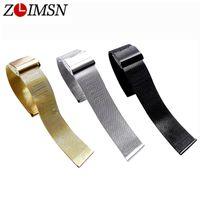 pulsera de acero inoxidable de 24mm. al por mayor-ZLIMSN Milanese reloj pulsera 18 mm 20 mm 22 mm 24 mm ultrafino de acero inoxidable correa de metal universal negro rosa oro plata