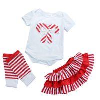 vestido legging niño al por mayor-Christams niñas bebés bastón de caramelo patrón mameluco rojo a rayas falda calentador de la pierna vestidos trajes niños niño bebé niñas ropa para niños 0-3T