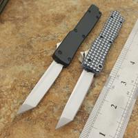 Wholesale Mini Key Knife - the one mini Key keychain buckle knife aluminum double action satin 440C tanto blade Folding knife xmas gift knife 1PCS freeshipping