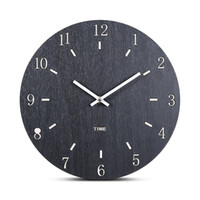 модные настенные подвески оптовых-European Style Concise Wooden Round Wall Clocks Modern Fashion Quartz MDF Silent Hanging Wall Watch Living Room Home Decoration