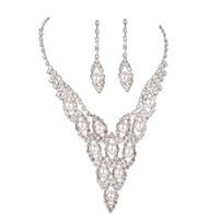 ensembles de bijoux en cristal dames achat en gros de-Collier femme + boucles d'oreilles en cuivre perle de cristal perles kit de bijoux de mariée de mariage pour dames @ M23