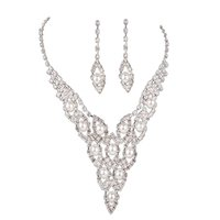 женские комплекты оптовых-Women Necklace + Earrings Set Copper Crystal Pearl  Ladies Wedding Bridal Jewelry Kit @M23