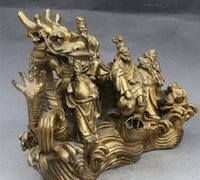Chinese Brass Auspicious Eight Immortals Across sea By Dragon Boat Statue