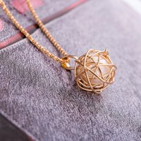 Wholesale ball cage charm resale online - Gold Silver Cage Ball Pendant Necklace Silver Chain Necklace for Women Girls Jewelry Nice Christmas Gifts