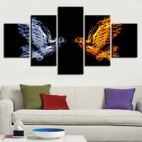 ingrosso uccelli d'arte della parete di tela-Wall Art Canvas Decor Living Room Stampa HD 5 pezzi Animali Abstract Ice And Fire Birds Pictures Quadri quadro modulare