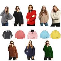 Wholesale fleece down jacket - Pullover Women Winter Autumn Fleece Sweatshirt Oversized Jacket Solid Sports Casual Plush Sweatshirts Zipper Coats 15pcs HHA28